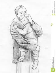 father and child pencil sketch stock illustration image 49286492