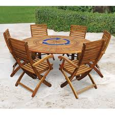 Dining Room Table With Lazy Susan by The Lazy Susan Outdoor Table Set Hammacher Schlemmer