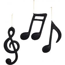 12 assorted note ornaments black glitter set of 3