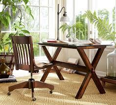 ava glass display wood desk swivel desk chair pottery barn