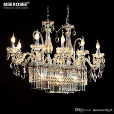 gorgeous rectangle crystal chandelier light fixture 13 lights