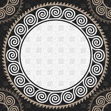 Greek Key Motif White Round Golden Greek Ornament Meander Seamless Background