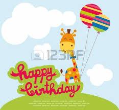 cute happy birthday card with fun giraffe royalty free cliparts