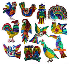 mexican painted tin bird ornaments per dozen