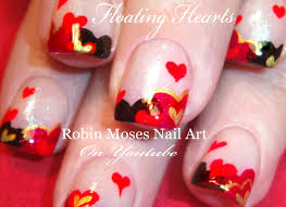easy valentine u0027s day nails cute floating hearts nail art design