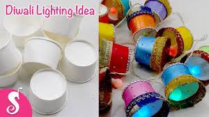 easy u0026 simple diwali lighting hanging idea using paper tea glass