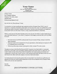 receptionist cover letter receptionist cover letter sle resume genius