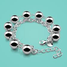 solid silver bracelet charms images Fashion 925 sterling silver bracelet female ball design jpg