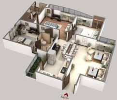 3 bhk house plan in 3d arts