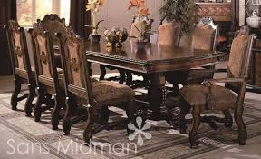 Mid Th Century Oak Dining Room Table With Eight Leather  Pc - Dining room chair sets