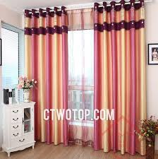 Yellow Striped Curtains And Pink Cute Princess Romantic Dreamy Striped Curtains