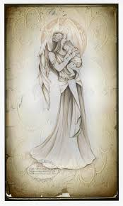 cherish guardian with baby vintage sketch original by