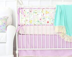 mint and mini floral baby bedding crib set in coral