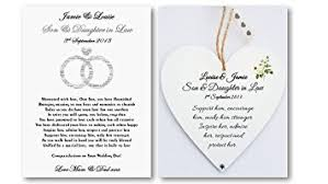 Bride To Groom Wedding Card Personalised Son And Daughter In Law Wedding Card And Heart Plaque