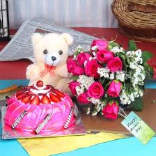 twelve pink roses and teddy with strawberry cake for mothers day