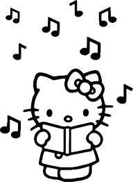 hello kitty listen music coloring page wecoloringpage