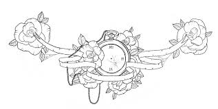 lovely pocket watch and flowers chest piece tattoo design by