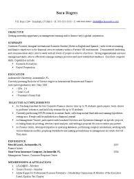 objective of resume for internship sample resume international business