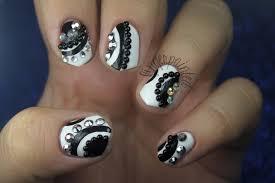 black and white rhinestone nails nail art gallery