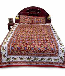 Buy Double Bed Sheets Online India Jaipur Raga Jaipuri Elephant Print Red Double Bed Sheet Set Buy