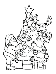 christmas reindeer coloring pages free decorating tree with the on