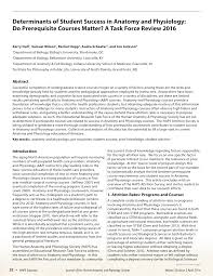 determinants of student success in anatomy and physiology do