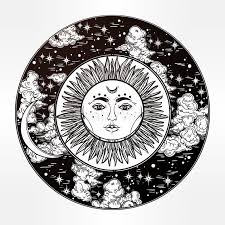 drawing of a sky with sun moon inside stock vector