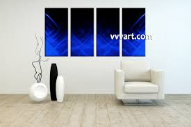 contemporary canvas wall art 3 piece abstract blue oil paintings