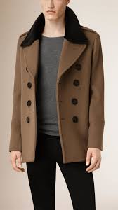 burberry virgin wool cashmere pea coat with rabbit fur collar in