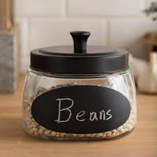 clear glass canisters for kitchen ksp chalkboard glass canister with lid black clear kitchen