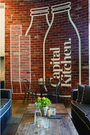 logo on brick wall of clean and modern cafe with home style design
