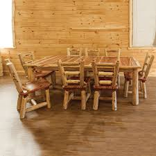 Log Dining Room Table Rustics Red Cedar Log Dining Table With Extension Leaves