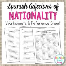 spanish adjectives of nationality grammar activities the verb