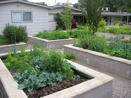 poured concrete raised beds landscape modern with raised vegetable