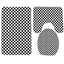 Toilet Mat Black And White Checkered Bath Accessories Living Room Ideas