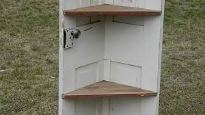 corner bookcase with doors primitive door corner shelf youtube