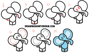 how to draw a cartoon elephant step by step for kids