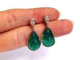 emerald drop earrings wow 18k gold blue green emerald cabochon diamond