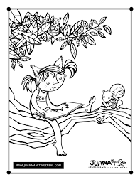 Kitty On A Tree Coloring Page Juana Martinez Neal Children S Tree Coloring Pages