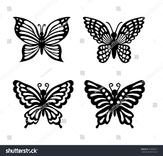collection black butterflies isolated on transparent stock vector