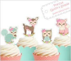 woodland cake toppers woodland animals edible cupcake cake toppers pre cut baby shower