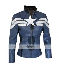 blue motorbike jacket captain america winter soldier women jacket costume