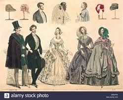 fashion 19th century engraving germany 1840 dress hat hats