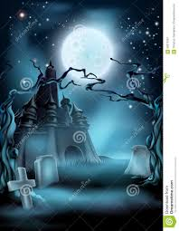 blue halloween background graveyard and castle halloween background stock vector image