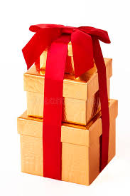 wrapped gift box three gold wrapped gift boxes stock photo image of ribbon