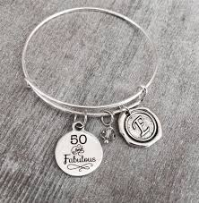 Birthday Charm Bracelet 50 And Fabulous 50th Birthday Birthday Charm By Sajolie On Zibbet