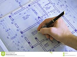 Blue Print Of A House Hand Drawing A House Blueprint Stock Image Image 17704261