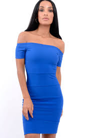 blue bodycon dress ribbed bardot bodycon dress phoebe