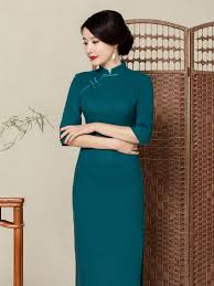 green linen 3 quarter sleeve casual long mandarin collar dress
