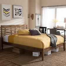 Baxton Studio Bed Baxton Studio Daylan Mid Century Modern Solid Walnut Wood Slatted